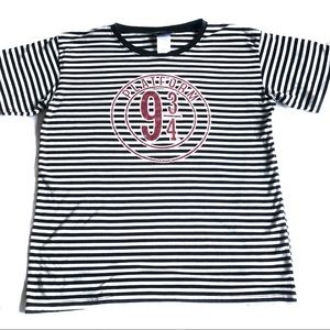 Harry Potter 9 3/4 black and white stripped tee